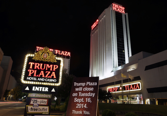 A sign seen early Tuesday, Sept. 16, 2014, announces the closing of Trump Plaza Hotel & Casino in Atlantic City, N.J. Trump Plaza's closing is the fourth Atlantic City casino to go out of business ...