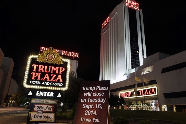 A sign seen early Tuesday, Sept. 16, 2014, announces the closing of Trump Plaza Hotel & Casino in Atlantic City, N.J. (AP Photo/Mel Evans)