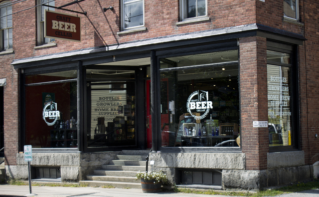 This Sept. 11, 2014, photo shows the exterior of Craft Beer Cellar in Waterbury, Vt. The story sells Heady Topper, the intensely hoppy American double IPA by The Alchemist Brewery in Waterbury, Vt ...
