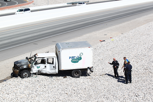 One man was killed and several others were injured in an accident involving two landscaping trucks on Wednesday, Sept. 17, 2014, at 215 Beltway and the Summerlin Parkway. One of the trucks caught  ...