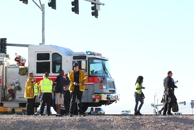 A school bus carrying 50 students was involved in a crash on the 215 Beltway near Lamb Boulevard Wednesday, Sept. 24, 2014, closing the westbound onramp, according to Nevada Highway Patrol. (Chase ...