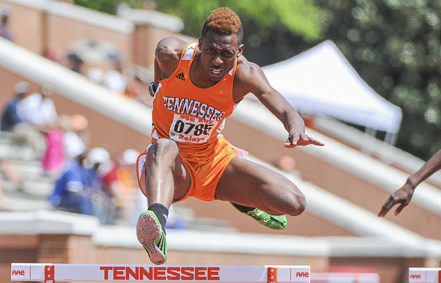 Terry Benson runs hurdles for the University of Tennessee. (Courtesy University of Tennesee)