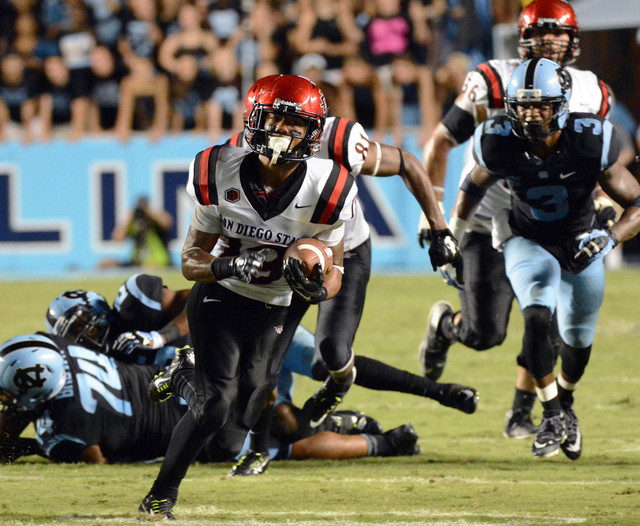 Sep 6, 2014; Chapel Hill, NC, USA;San Diego State Aztecs running back Donnel Pumphrey (19) carries the ball during the second half against the North Carolina Tar Heels at Kenan Memorial Stadium. N ...