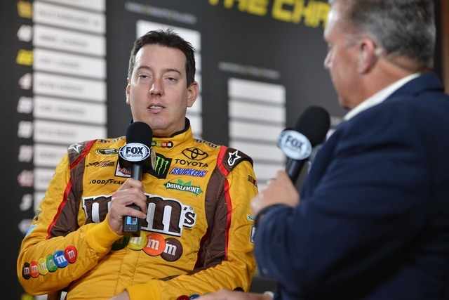 NASCAR Sprint Cup Series driver Kyle Busch is interviewed during media day for the 2014 Chase for the NASCAR Sprint Cup at The Murphy Chicago on Sept. 11, 2014. (Jasen Vinlove/USA TODAY Sports)