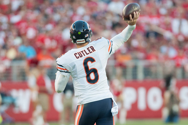 Sep 14, 2014; Santa Clara, CA, USA; Chicago Bears quarterback Jay Cutler (6) throws a pass against the San Francisco 49ers during the first quarter at Levi's Stadium. The Chicago Bears defeated th ...