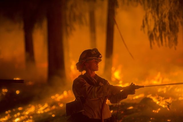 A firefighter battling the King Fire sprays water on a backfire in Fresh Pond, California, Wednesday, Sept. 17, 2014. Fire crews in California's rugged Sierra Nevada are trying to gain the upper h ...