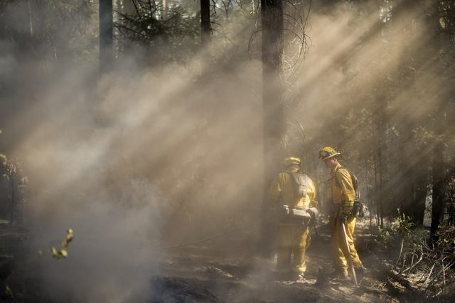 Firefighters check for hotspots while battling the King Fire near Fresh Pond, California, Wednesday, Sept. 17, 2014. Fire crews in California's rugged Sierra Nevada are trying to gain the upper ha ...