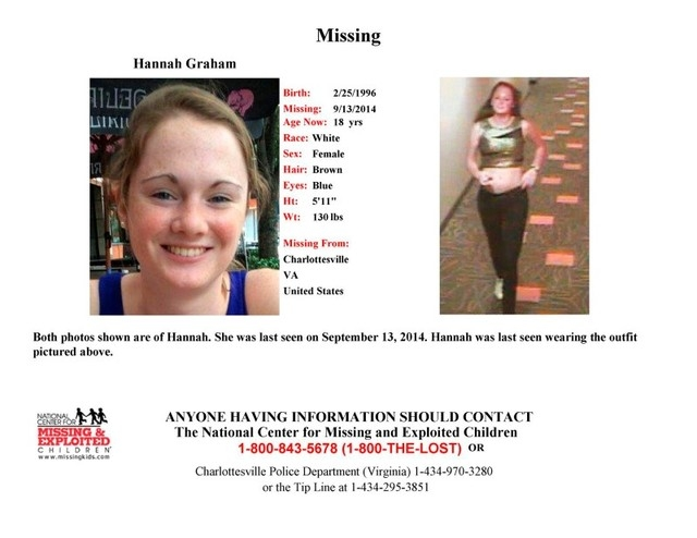 Hannah Graham, 18, a University of Virginia student missing since Sept. 14, 2014, is shown in this missing persons poster released by Charlottesville, Virginia, Police Department. (Reuters/Charlot ...