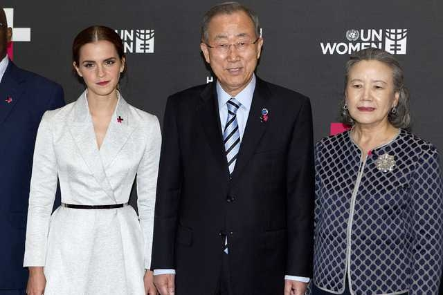 Actress Emma Watson (L), United Nations Secretary General Ban Ki-moon and his wife Yoo Soon-taek pose for a photo during a photo opportunity promoting the HeForShe campaign in New York September 2 ...