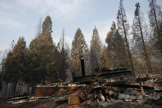 The remains of a structure burned by the King Fire are seen in White Meadows, California, northeast of Sacramento, Saturday, Sept. 20, 2014.  (Reuters/Stephen Lam)