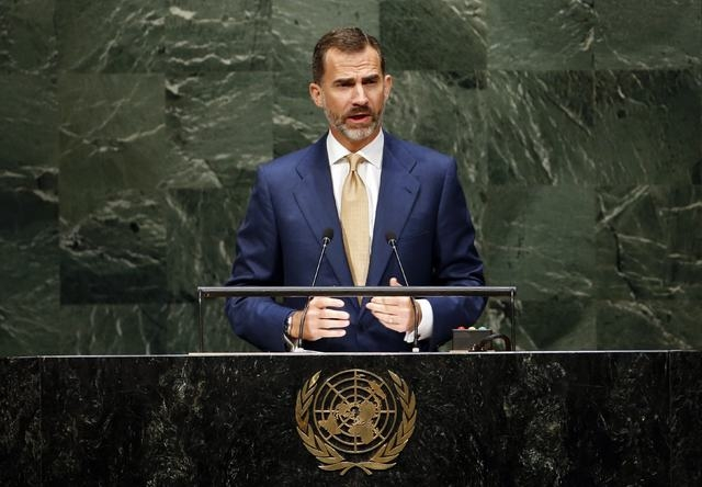 Spain's King Felipe addresses the 69th United Nations General Assembly at U.N. headquarters in New York, Wednesday, Sept. 24, 2014.  (Reuters/Mike Segar)