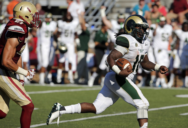 Colorado State running back Dee Hart runs past Boston College defensive back Justin Simmons during the Rams' 24-21 win Saturday, Sept. 27, in Boston. (Winslow Townson/USA TODAY Sports)