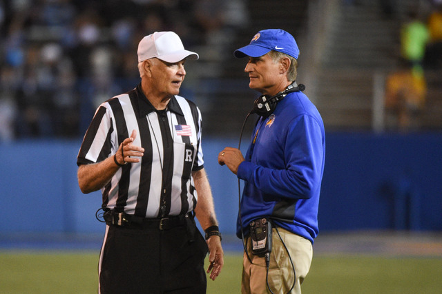 San Jose State head coach Ron Caragher (right) talks to the referee Randy Christal during the Spartans 21-10 loss to UNR on Saturday. (Kyle Terada/USA TODAY Sports)