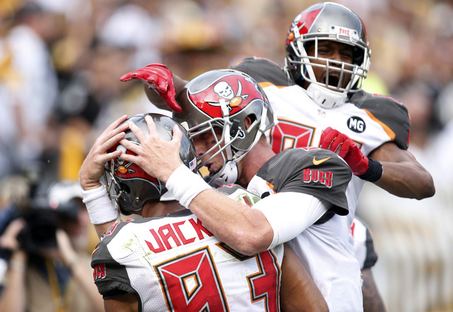 Sep 28, 2014; Pittsburgh, PA, USA; The Tampa Bay Buccaneers celebrate a game winning touchdown catch by wide receiver Vincent Jackson (83) against the Pittsburgh Steelers during the fourth quarter ...