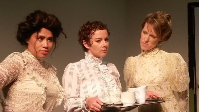 "Natalie Senecal, Vanessa Coleman and Jessica Hird in David Mamet's ""Boston Marriage,"" which opens Friday in Las Vegas Little Theatre's Black Box. (Courtesy photo)"