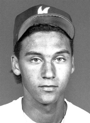 In this photo taken in the early 1990s, Kalamazoo Central baseball player Derek Jeter poses for a photo in Kalamazoo, Mich. A five-time World Series champion and sixth on the career hits list, Jet ...