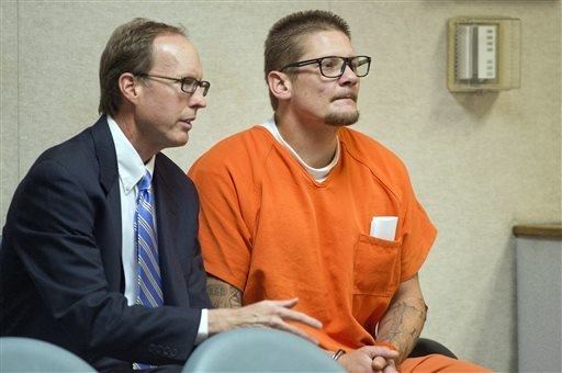 Defense attorney William Dittman, left, and King arson fire suspect Wayne Allen Huntsman appear during Huntsman's arraignment  in El Dorado County Superior Court in Placerville on Friday, Sept. 19 ...