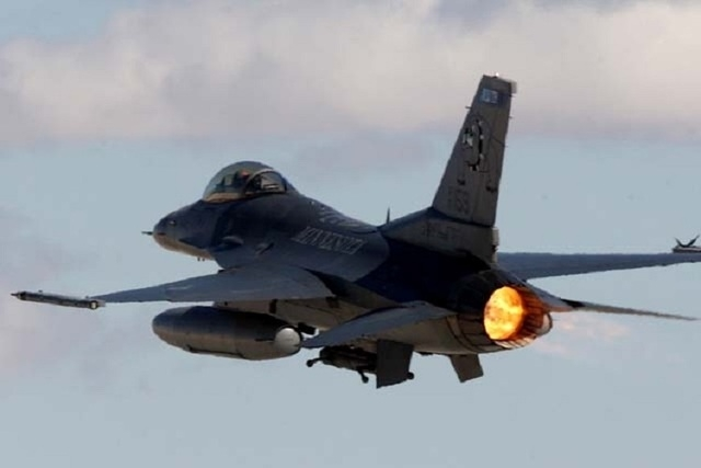 An F-16 Falcon fighter jet departs Nellis Air Force Base in February 2011 Red Flag exercises. (Review-Journal file photo)