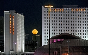 A full moon rises between the towers of the Circus Circus hotel-casino in this undated file photo. (Las Vegas Review-Journal)