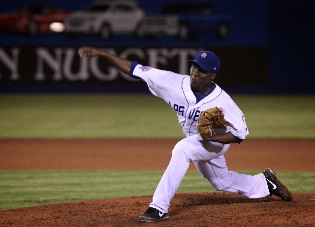 51s right-hander Rafael Montero delivers against the Fresno Grizzlies on Sunday night at Cashman Field. Montero allowed two runs on six hits in 5 1/3 innings and took the loss in Las Vegas' 4-1 d ...