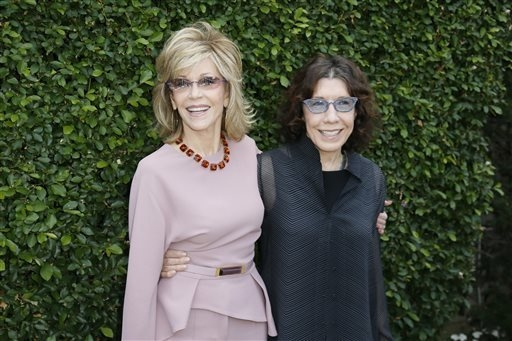 Actress and event host Jane Fonda and actress Lily Tomlin, right, pose at The Rape Foundation's Annual Brunch at Greenacres on Sunday, Sept. 28, 2014, in Beverly Hills, Calif. (Photo by Danny Molo ...