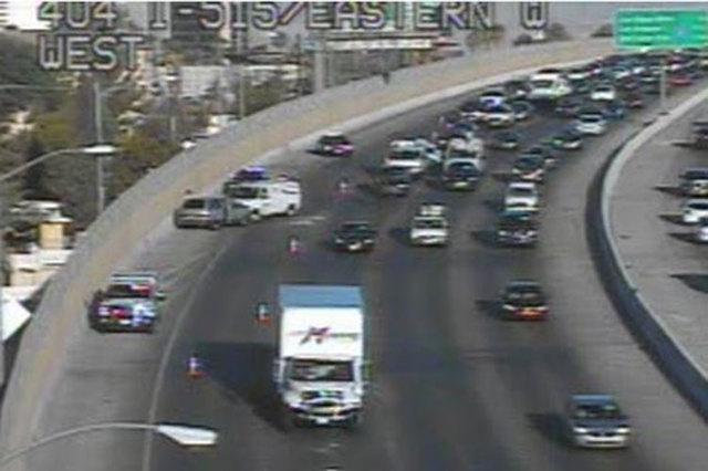 A crash on southbound U.S. Highway 95 near Eastern Avenue is blocking the right lane, causing delays, according to Regional Transportation Commission. (Courtesy/RTC FAST cameras)