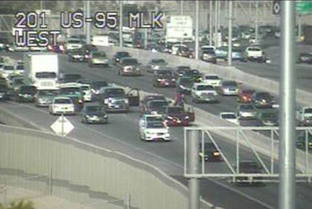 An accident on southbound U.S. Highway 95 in the Spaghetti Bowl is blocking traffic Friday morning. (RTC FAST Camera)
