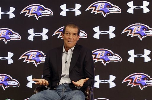 Baltimore Ravens owner Steve Bisciotti addresses the controversy surrounding former running back Ray Rice at an NFL football news conference, Monday, Sept. 22, 2014, in Owings Mills, Md. (AP Photo ...