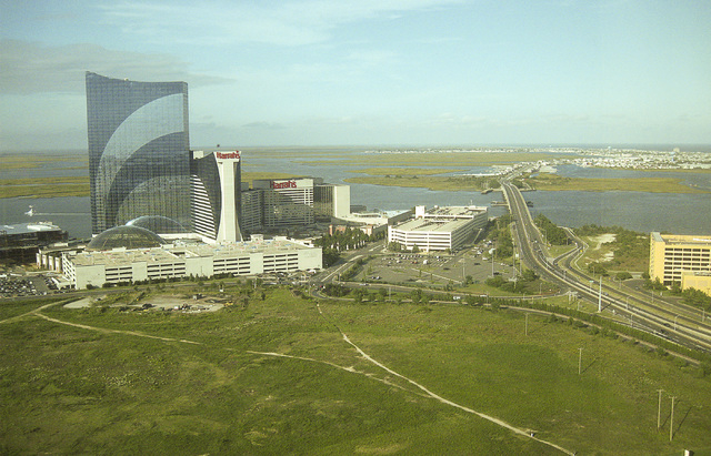 MGM Resorts International owns 50 percent of Borgata in Atlantic City, as well as a 72-acre land parcel, foreground, between the Borgata and Harrah's Atlantic City. It's unclear what the company w ...