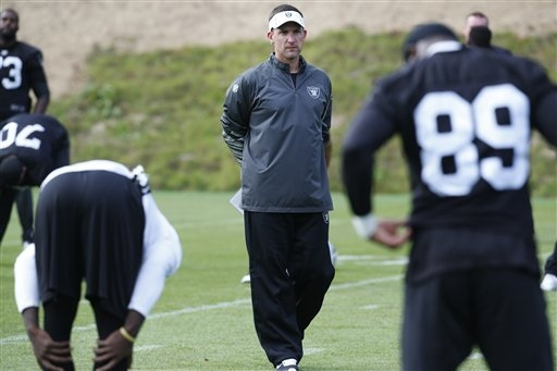 Oakland Raiders head coach Dennis Allen, canter, watches his players during a training session at Pennyhill Park, Bagshot, England, Thursday, Sept. 25, 2014. The Raiders will play the Miami Dolphi ...