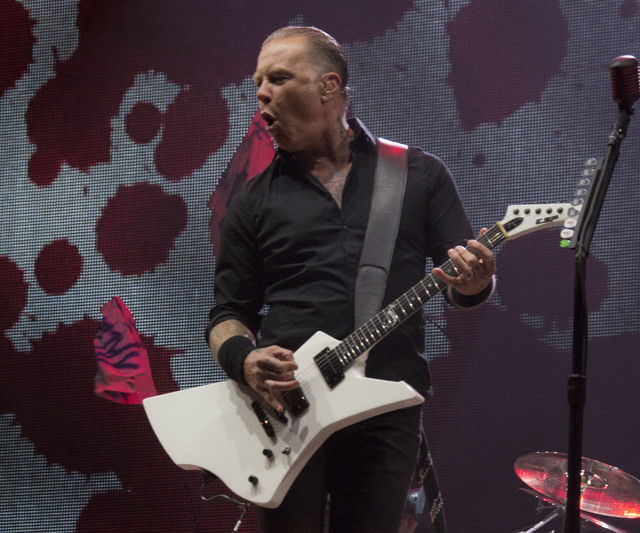 James Hetfield of Metallica performs on the main Pyramid stage at Glastonbury festival, in Pilton, England, Saturday, June 28, 2014. More than 175,000 are expected to have arrived at Worthy Farm i ...