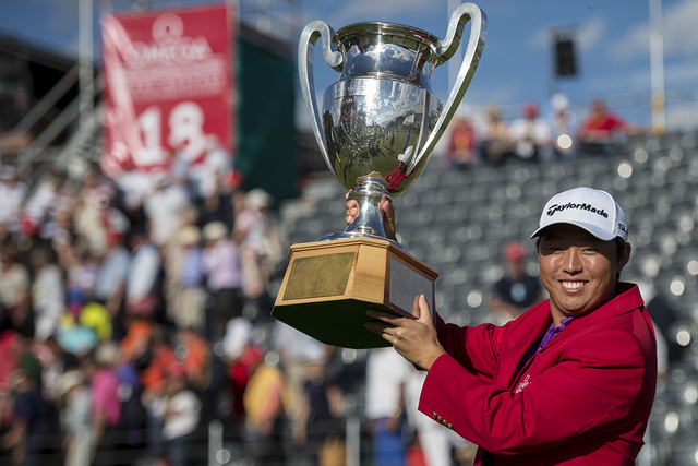 Winner David Lipsky of the USA poses with the trophy after the final round of the Omega European Masters Golf Tournament in Crans-Montana, Switzerland, Sunday, Sept. 7, 2014. (AP Photo/Keystone, E ...