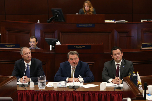 From left, Steve Hill, with the Nevada Office of Economic Development, Tony Sanchez, with NV Energy, left, and Paul Thomsen, with the Nevada Office of Energy, answer questions from lawmakers durin ...