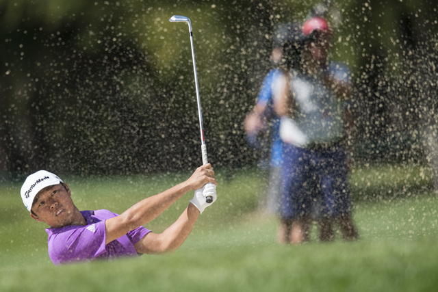 Winner David Lipsky of the USA tees off at hole 3 during the final round of the Omega European Masters Golf Tournament in Crans-Montana, Switzerland, Sunday, Sept. 7, 2014. (AP Photo/Keystone, Enn ...
