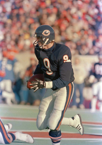 Jim McMahon, quarterback for the Chicago Bears during NFC divisional playoffs action against the New York Giants at Soldier Field in Chicago, Ill., Jan. 5, 1986. (AP Photo)