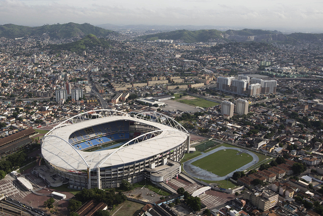General view of the Joao Havelange Stadium, known locally as the Engenhao, in Rio de Janeiro, Brazil, Thursday, April 11, 2013. (AP Photo/Felipe Dana)