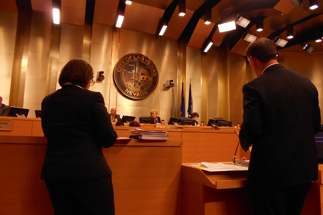 Bill Arent, city of Las Vegas economic development chief, explains the funding proposal for the $200 million soccer stadium in Symphony Park in downtown Las Vegas to the Las Vegas City Council on  ...