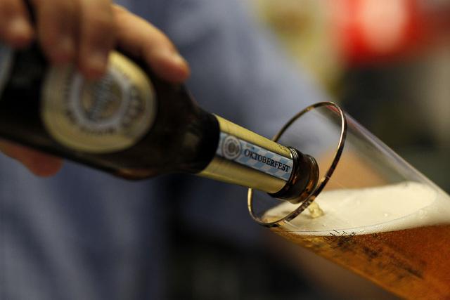 Joe Williams pours a beer at the Bavarian Castle restaurant in Henderson on Sunday, Sept. 14, 2014. (Justin Yurkanin/Las Vegas Review-Journal)