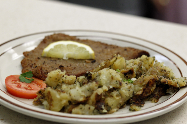 "The schnitzel ""Vienna Style"" dish at the Bavarian Castle restaurant in Henderson on Sunday, Sept. 14, 2014. (Justin Yurkanin/Las Vegas Review-Journal)"