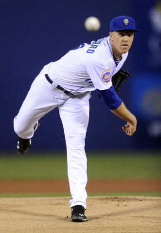 Las Vegas 51s pitcher Noah Syndergaard throws in the first inning of a Triple A Minor league baseball game against the Fresno Grizzlies at Cashman Field in Las Vegas Friday, April 04, 2014.(Josh H ...