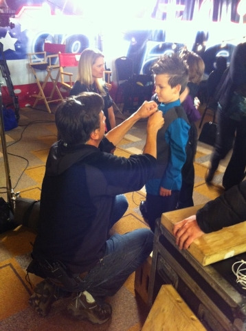"""Dominic Evans gets some help backstage at """"America's Got Talent."""" (Special to View)"""
