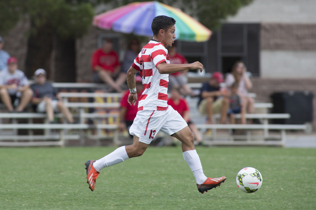 UNLV senior captain Sal Bernal dribbles against Howard University. The Rebels defeated the Bison, 4-0, during the Johann Memorial Classic on Sept. 7, 2014 at UNLV. (Aaron Mayes/UNLV Photo Services ...