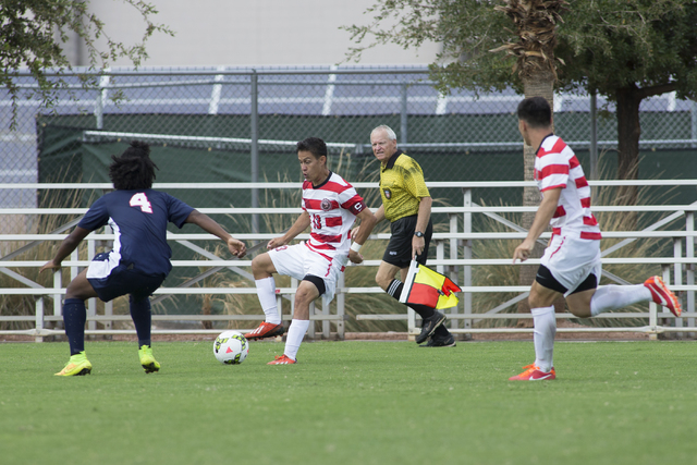 UNLV senior captain Sal Bernal (13) controls the ball against Howard University. The Rebels defeated the Bison, 4-0, during the Johann Memorial Classic on Sept. 7, 2014 at UNLV. (Aaron Mayes/UNLV  ...