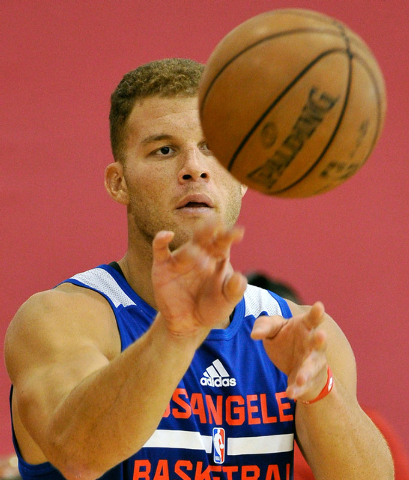 Los Angeles Clippers' Blake Griffin passes the ball during practice at NBA basketball training camp at the Mendenhall Center at UNLV on Tuesday, Sept. 30, 2014. (David Becker/Las Vegas Review-Journal)