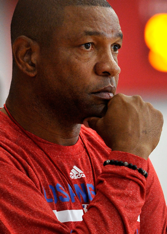 Los Angeles Clippers coach Doc Rivers watches his players during NBA basketball practice at the Mendenhall Center at UNLV on Tuesday, Sept. 30, 2014. (David Becker/Las Vegas Review-Journal)