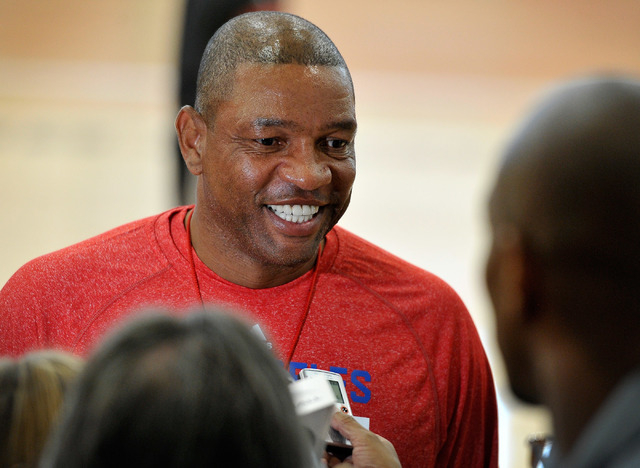 Los Angeles Clippers coach Doc Rivers speaks with the media after practice at the Mendenhall Center at UNLV on Tuesday, Sept. 30, 2014. (David Becker/Las Vegas Review-Journal)