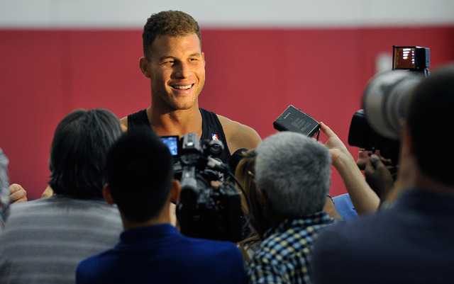 Los Angeles Clippers' Blake Griffin speaks with the media after practice at NBA basketball training camp at the Mendenhall Center at UNLV on Tuesday, Sept. 30, 2014. (David Becker/Las Vegas Review ...