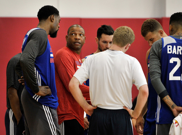 Los Angeles Clippers coach Doc Rivers, second left, speaks with his team during practice at the Mendenhall Center at UNLV on Tuesday, Sept. 30, 2014. (David Becker/Las Vegas Review-Journal)