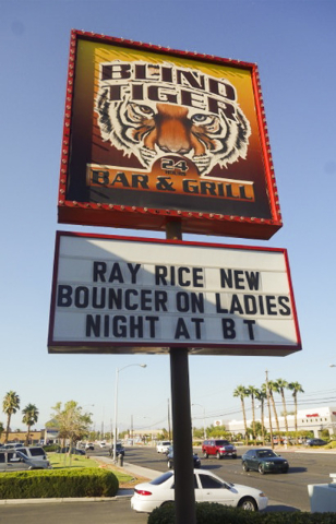 A LasVegas bar on S. Pecos known for embracing political incorrectness is at it again, courting public wrath with a tasteless comment on the Ray Rice controversy. The Baltimore Ravens cut Rice on  ...