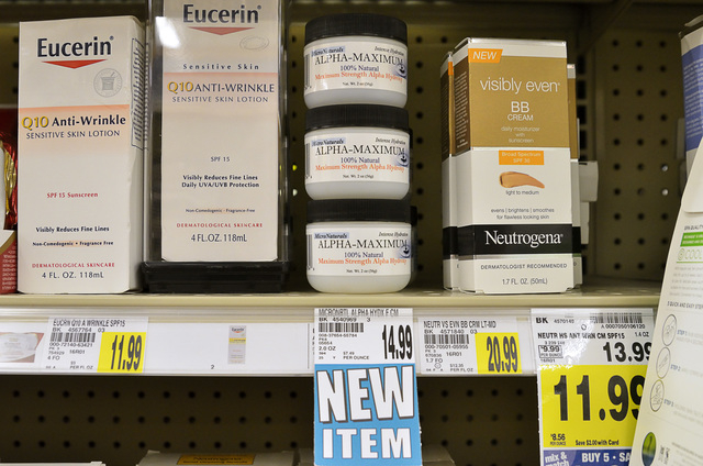 Alpha-Maximum exfoliation cream is shown on a shelf in the beauty aisle at the Smith's Food and Drug Center at 9750 S. Maryland Parkway in Henderson on Friday, Sept. 12, 2014. The product was crea ...